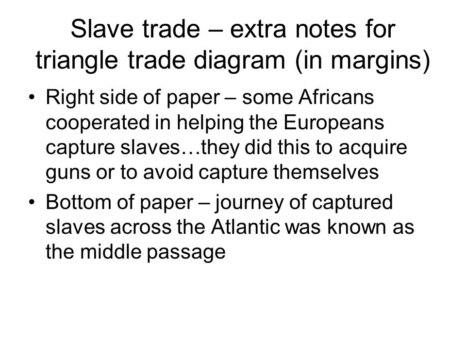 Slave trade – extra notes for triangle trade diagram (in margins) Right side of paper – some Africans cooperated in helping the Europeans capture slaves…they did this to acquire guns or to avoid capture themselves Bottom of paper – journey of captured slaves across the Atlantic was known as the middle passage