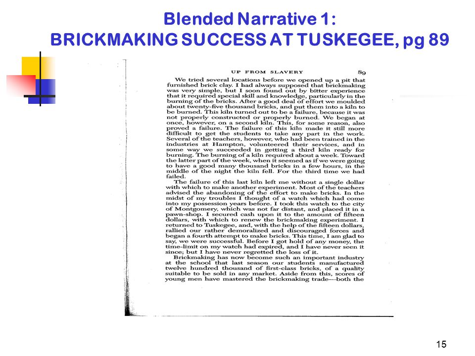 15 Blended Narrative 1: BRICKMAKING SUCCESS AT TUSKEGEE, pg 89