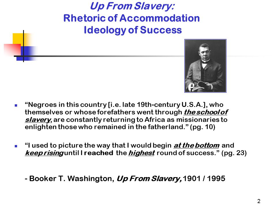 2 Up From Slavery: Rhetoric of Accommodation Ideology of Success Negroes in this country [i.e.