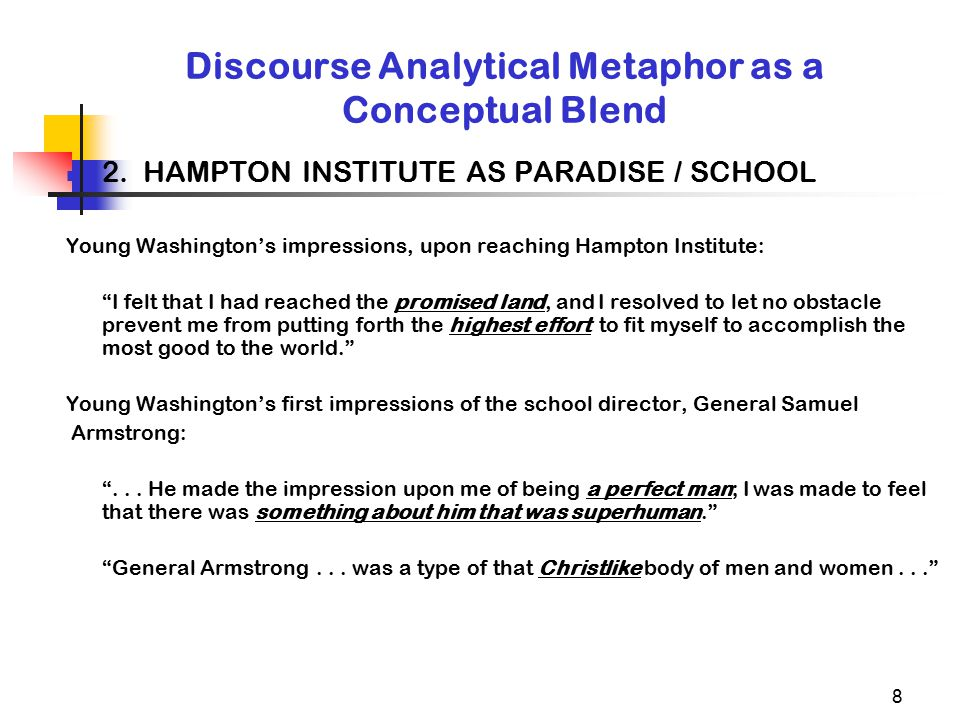 8 Discourse Analytical Metaphor as a Conceptual Blend 2. HAMPTON INSTITUTE AS PARADISE / SCHOOL Young Washington's impressions, upon reaching Hampton