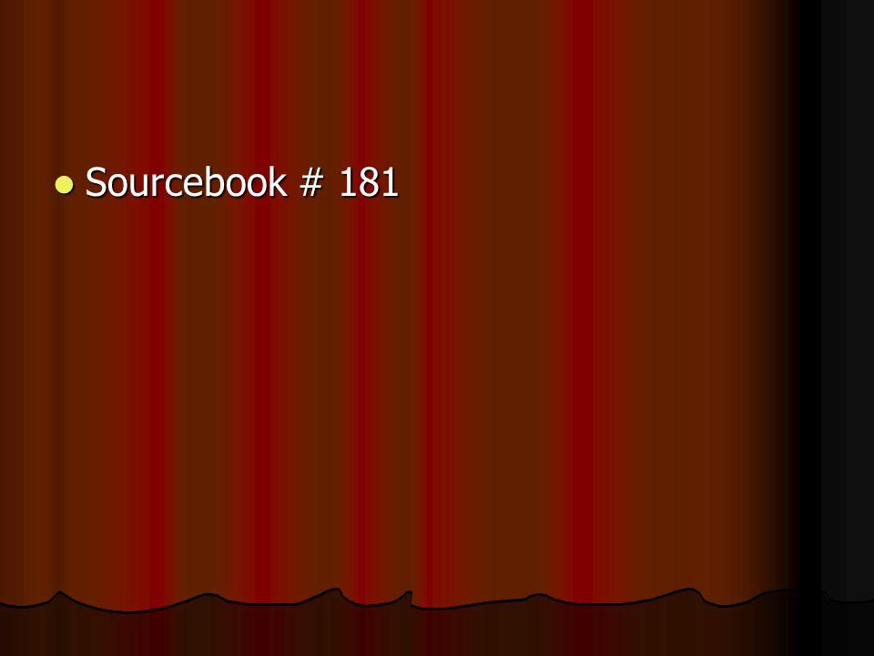 Sourcebook # 181 Sourcebook # 181