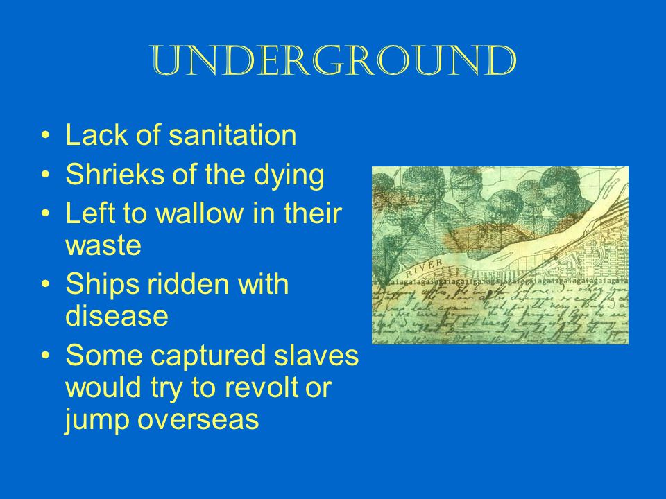 Underground Lack of sanitation Shrieks of the dying Left to wallow in their waste Ships ridden with disease Some captured slaves would try to revolt o