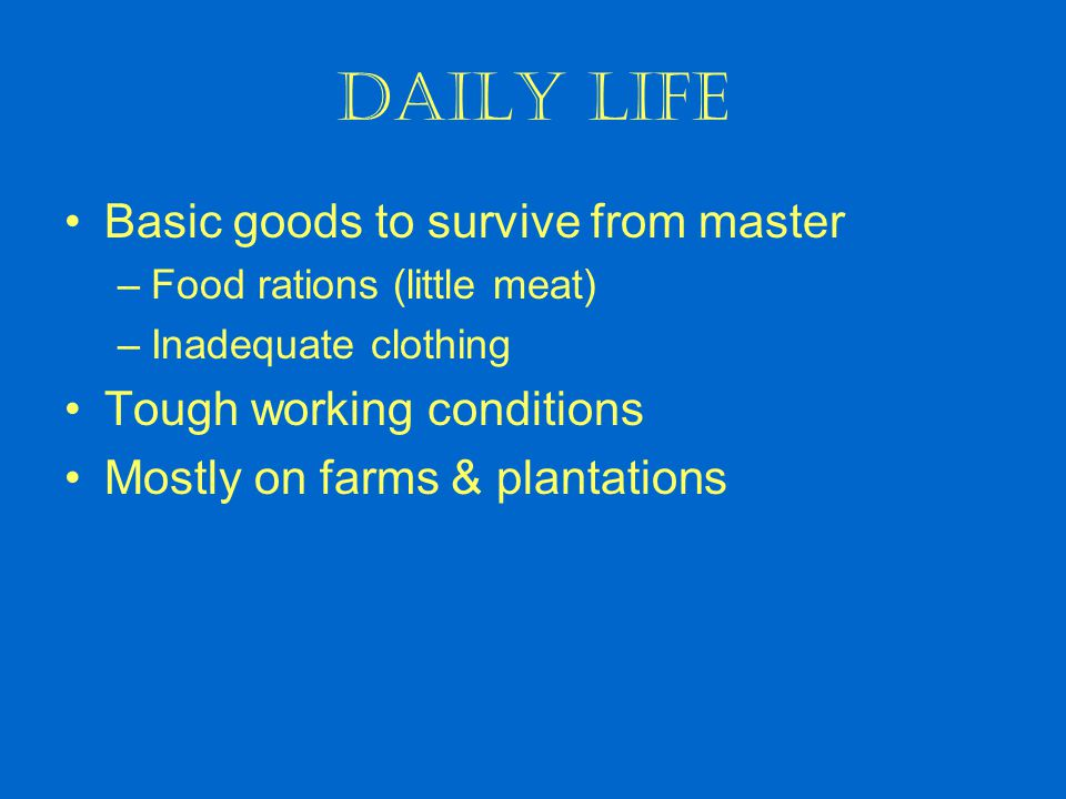 Daily Life Basic goods to survive from master –Food rations (little meat) –Inadequate clothing Tough working conditions Mostly on farms & plantations