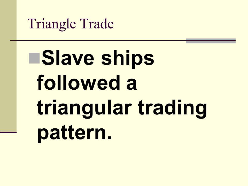 Triangle Trade Slave ships followed a triangular trading pattern.