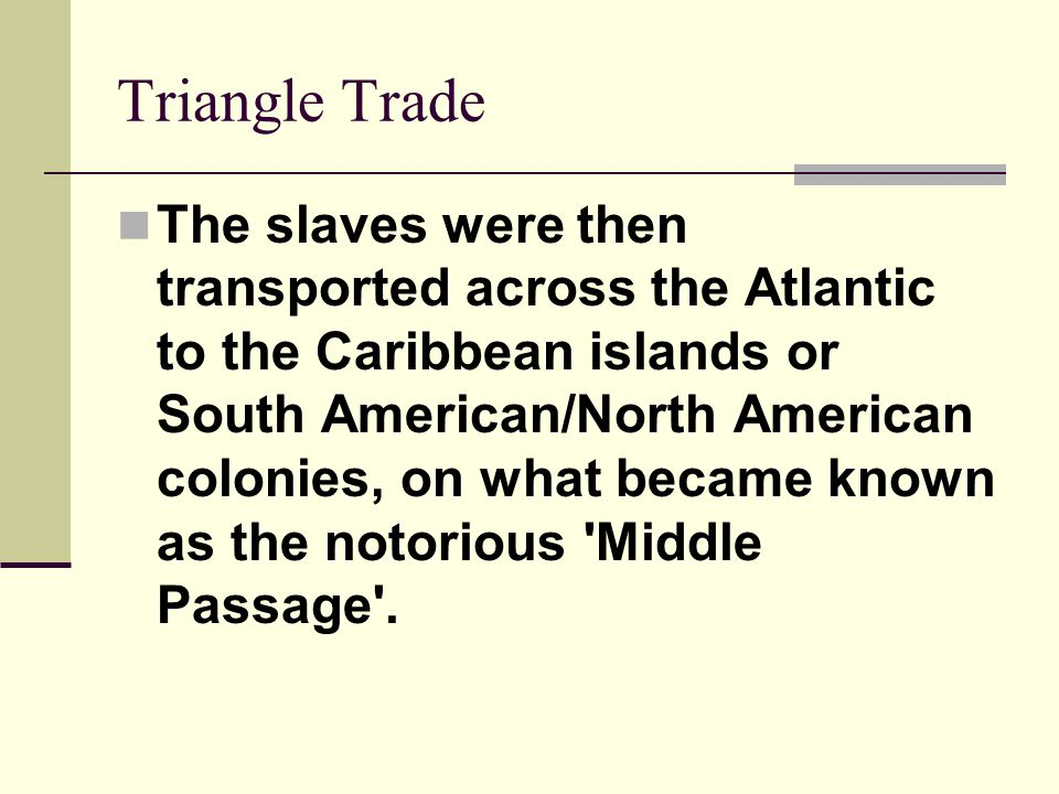 Triangle Trade The slaves were then transported across the Atlantic to the Caribbean islands or South American/North American colonies, on what became