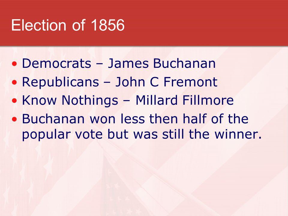 Election of 1856 Democrats – James Buchanan Republicans – John C Fremont Know Nothings – Millard Fillmore Buchanan won less then half of the popular v