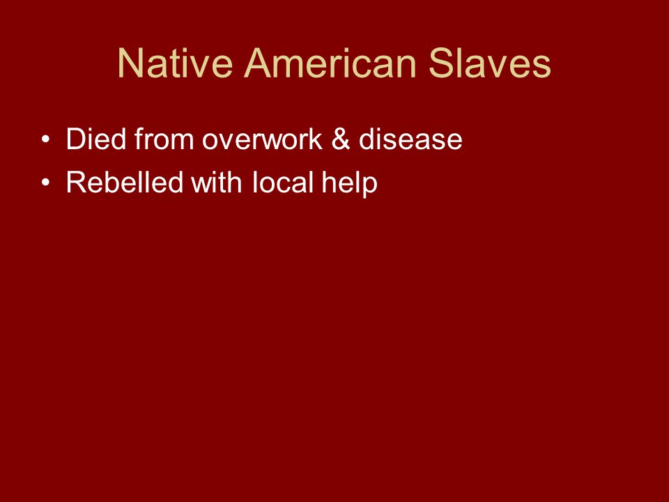 Native American Slaves Died from overwork & disease Rebelled with local help