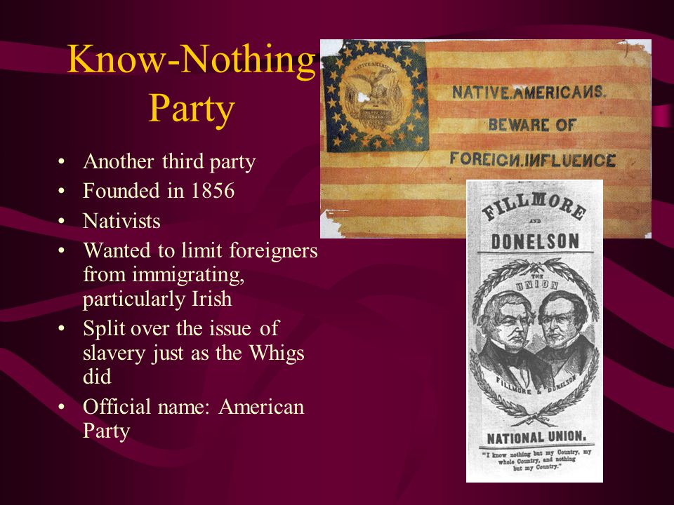 Know-Nothing Party Another third party Founded in 1856 Nativists Wanted to limit foreigners from immigrating, particularly Irish Split over the issue