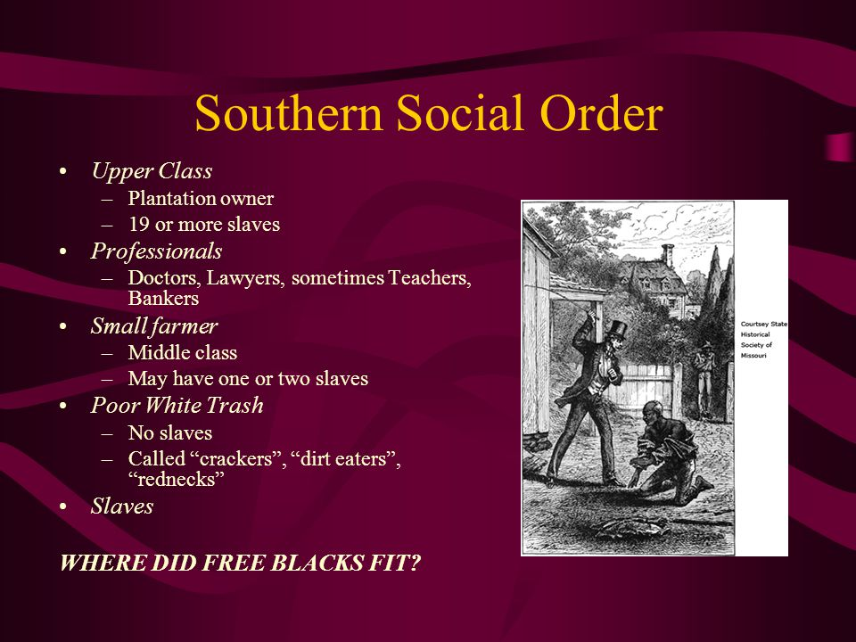 Southern Social Order Upper Class –Plantation owner –19 or more slaves Professionals –Doctors, Lawyers, sometimes Teachers, Bankers Small farmer –Midd
