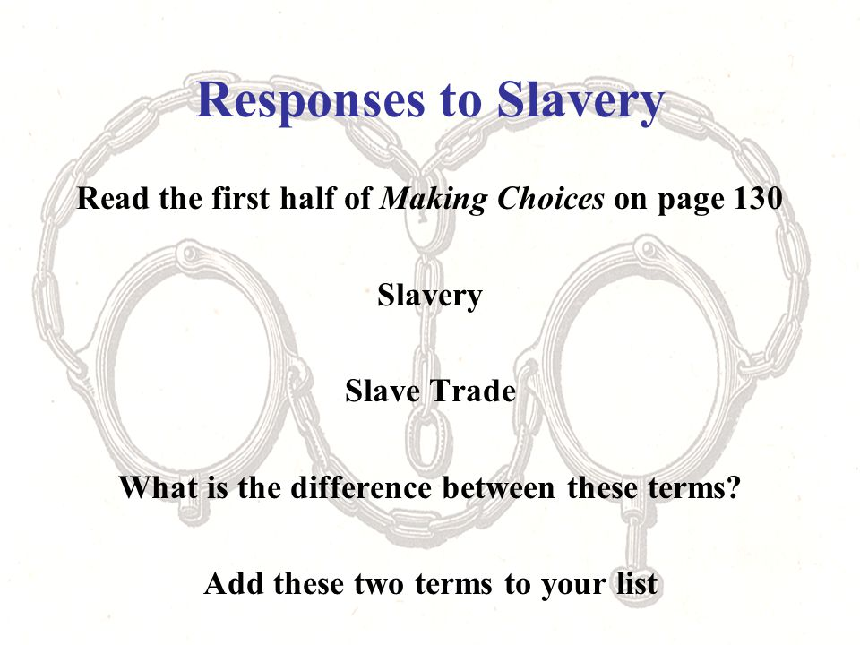 Responses to Slavery Read the first half of Making Choices on page 130 Slavery Slave Trade What is the difference between these terms.