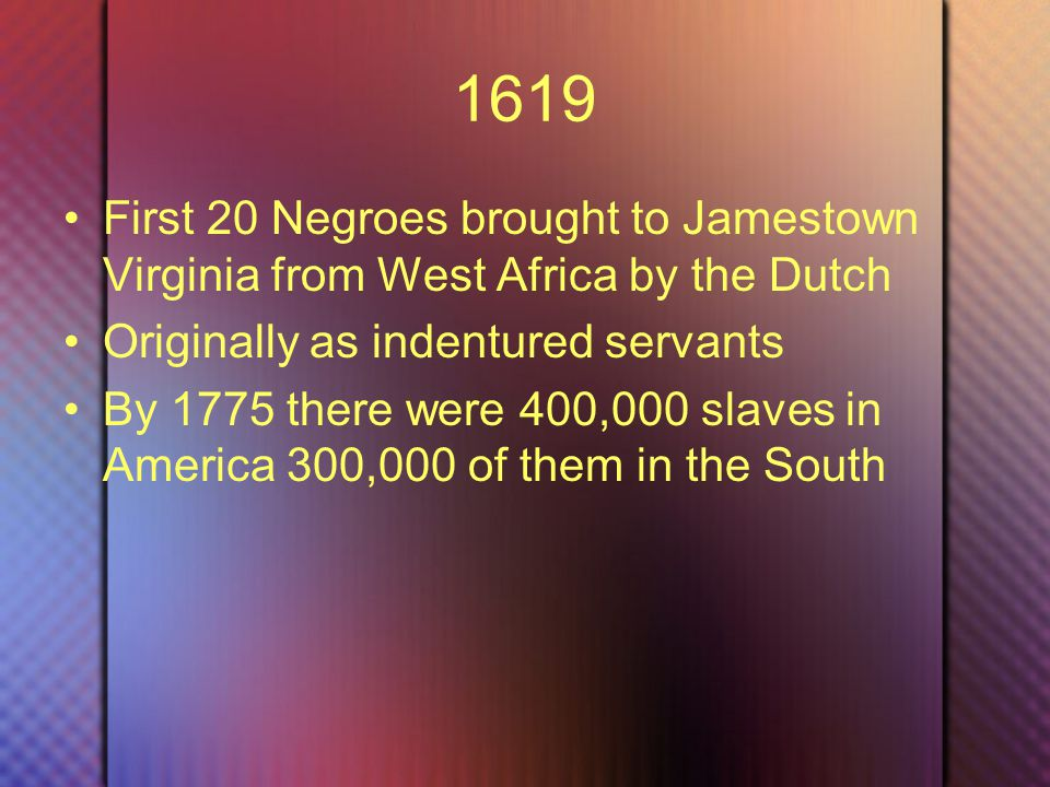 1776 Declaration of Independence Said nothing about slavery New England ship owners engaged in slave trade Southern plantation system needed cheep labor