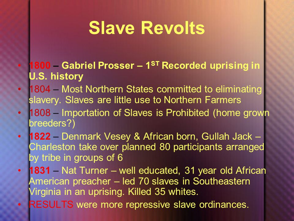 Slave Revolts 1800 – Gabriel Prosser – 1 ST Recorded uprising in U.S.