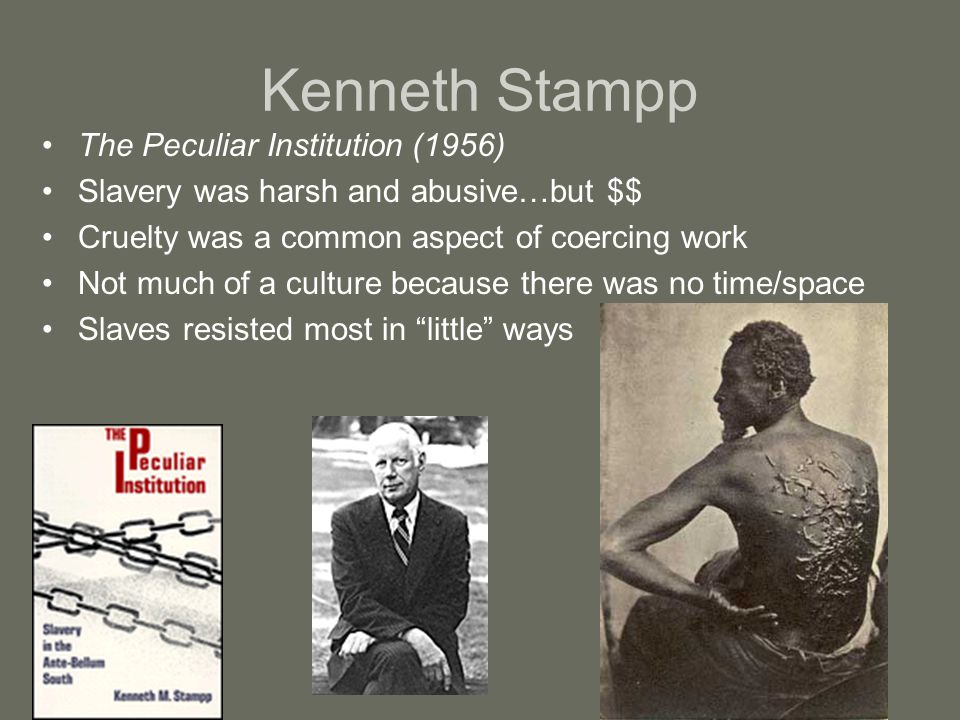 Kenneth Stampp The Peculiar Institution (1956) Slavery was harsh and abusive…but $$ Cruelty was a common aspect of coercing work Not much of a culture