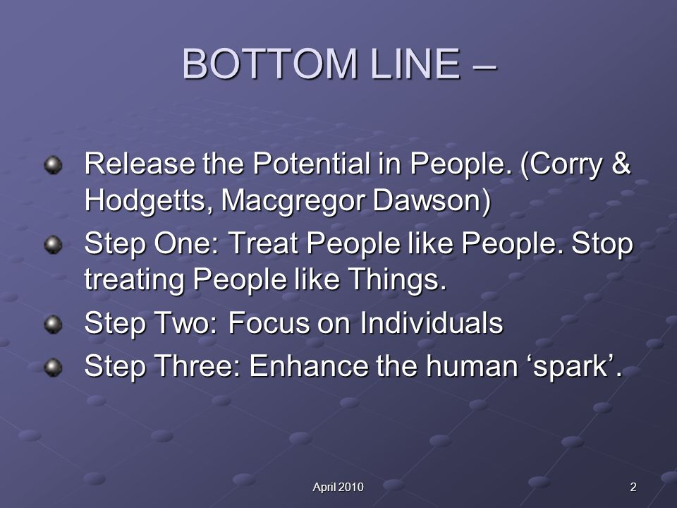 2April 2010 BOTTOM LINE – Release the Potential in People.