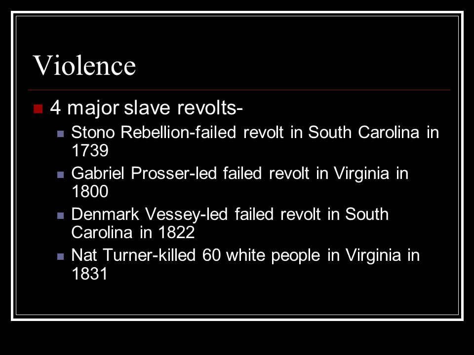 Violence 4 major slave revolts- Stono Rebellion-failed revolt in South Carolina in 1739 Gabriel Prosser-led failed revolt in Virginia in 1800 Denmark Vessey-led failed revolt in South Carolina in 1822 Nat Turner-killed 60 white people in Virginia in 1831