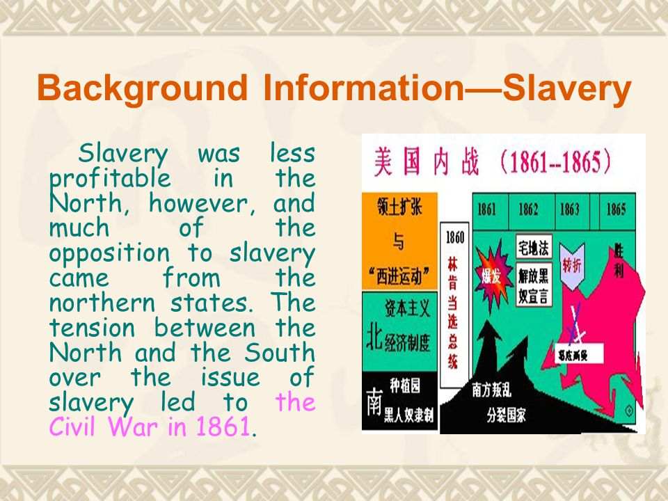 Background Information—Slavery Slavery was less profitable in the North, however, and much of the opposition to slavery came from the northern states.