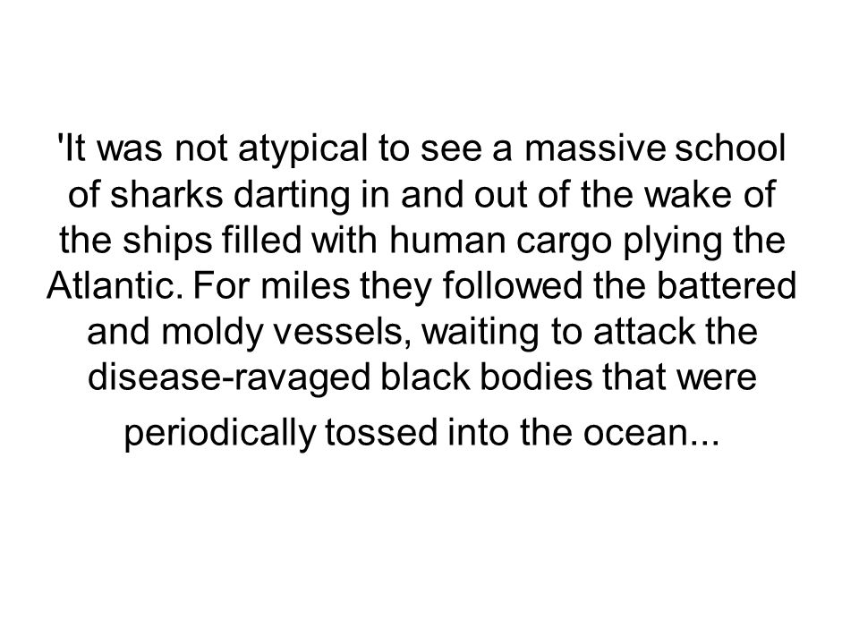 It was not atypical to see a massive school of sharks darting in and out of the wake of the ships filled with human cargo plying the Atlantic.