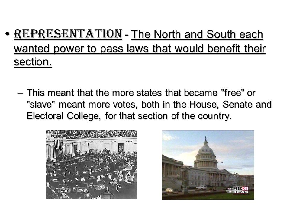Representation - The North and South each wanted power to pass laws that would benefit their section.Representation - The North and South each wanted power to pass laws that would benefit their section.