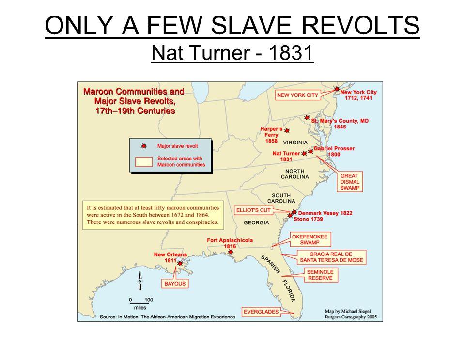 ONLY A FEW SLAVE REVOLTS Nat Turner - 1831