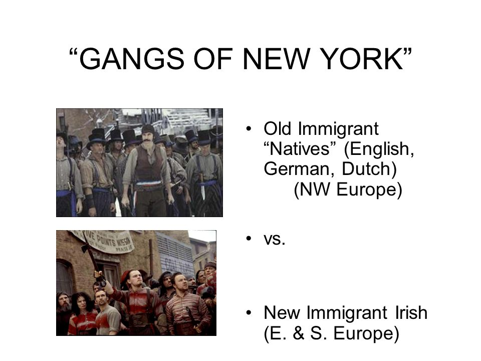 GANGS OF NEW YORK Old Immigrant Natives (English, German, Dutch) (NW Europe) vs.