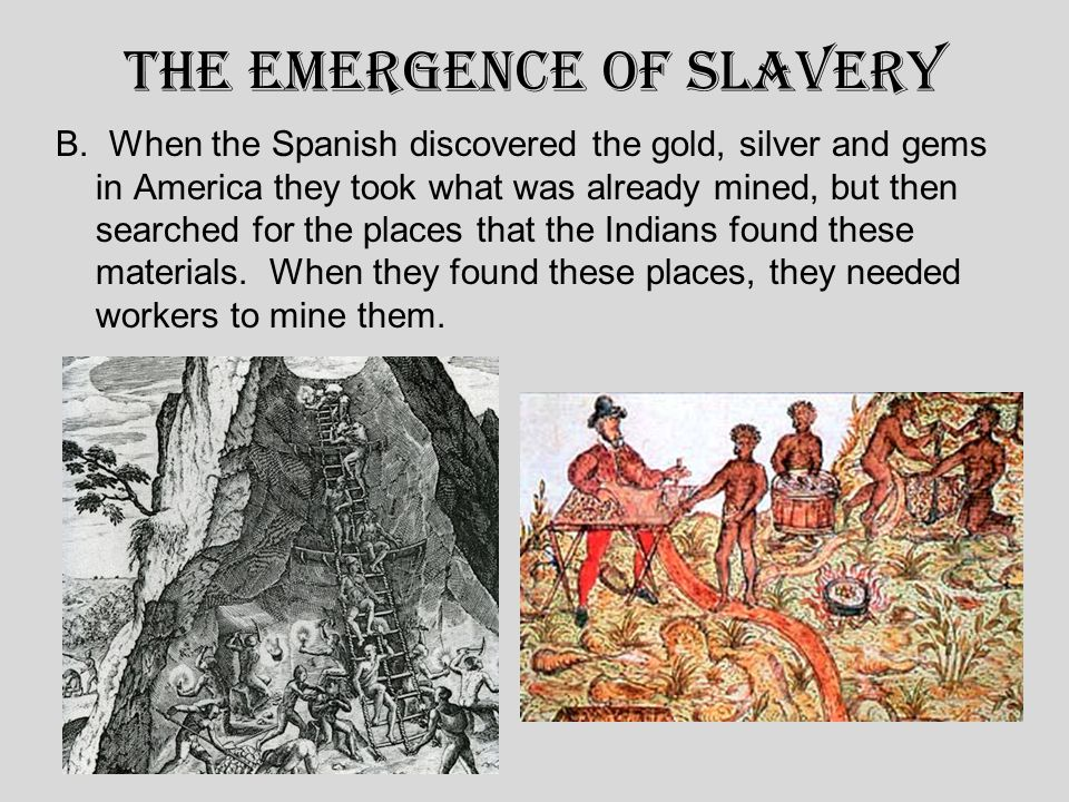 The Emergence of Slavery B. When the Spanish discovered the gold, silver and gems in America they took what was already mined, but then searched for t