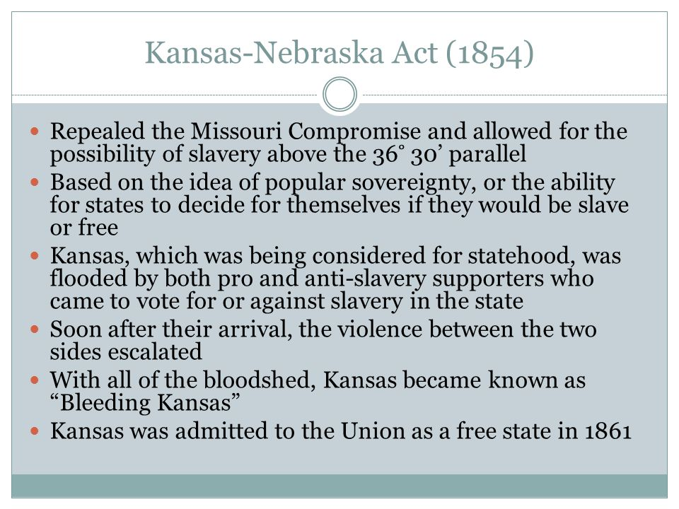 Kansas-Nebraska Act (1854) Repealed the Missouri Compromise and allowed for the possibility of slavery above the 36 ̊ 30' parallel Based on the idea o