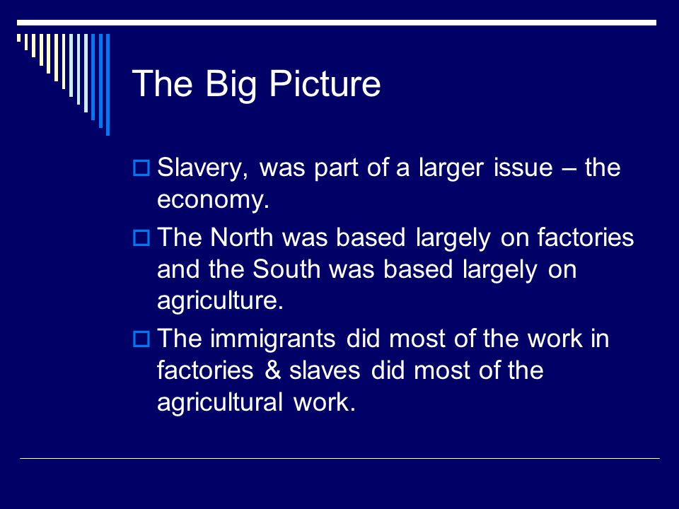 The Big Picture  Slavery, was part of a larger issue – the economy.