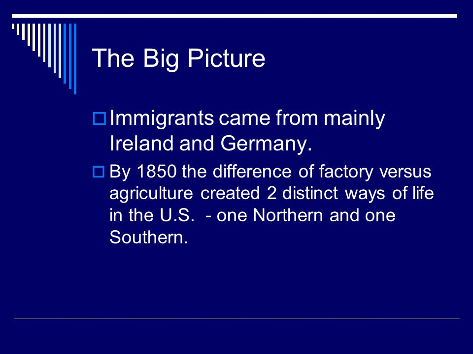 The Big Picture  Immigrants came from mainly Ireland and Germany.