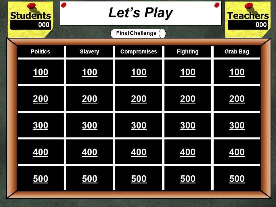 StudentsTeachers Game BoardPoliticsSlaveryCompromisesFighting Grab Bag 100 200 300 400 500 Let's Play Final Challenge