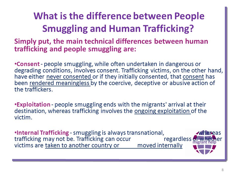 What is the difference between People Smuggling and Human Trafficking.