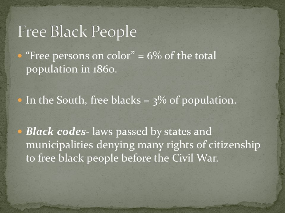 Free persons on color = 6% of the total population in 1860.