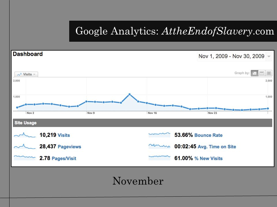 November Google Analytics: AttheEndofSlavery.com