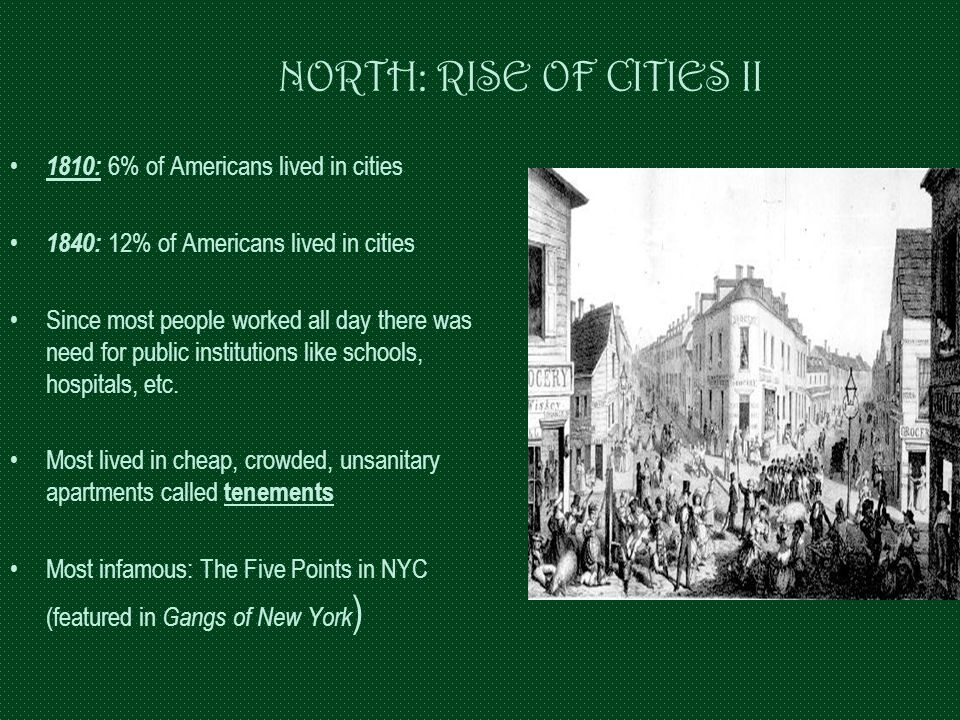 NORTH: RISE OF CITIES II 1810: 6% of Americans lived in cities 1840: 12% of Americans lived in cities Since most people worked all day there was need