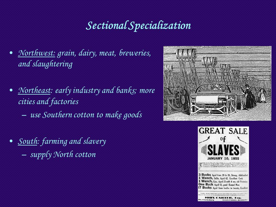 Sectional Specialization Northwest: grain, dairy, meat, breweries, and slaughtering Northeast: early industry and banks; more cities and factories –us