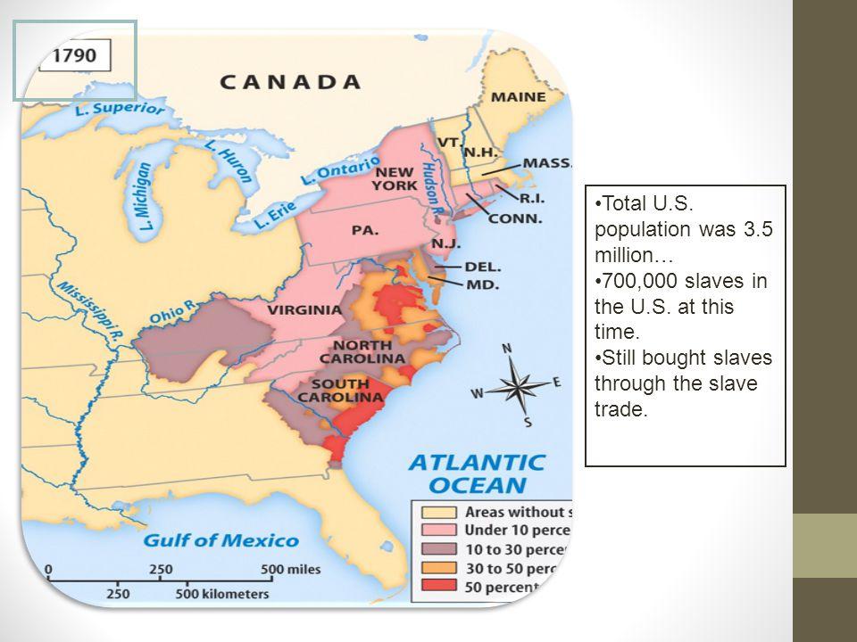 Total U.S.population was 3.5 million… 700,000 slaves in the U.S.