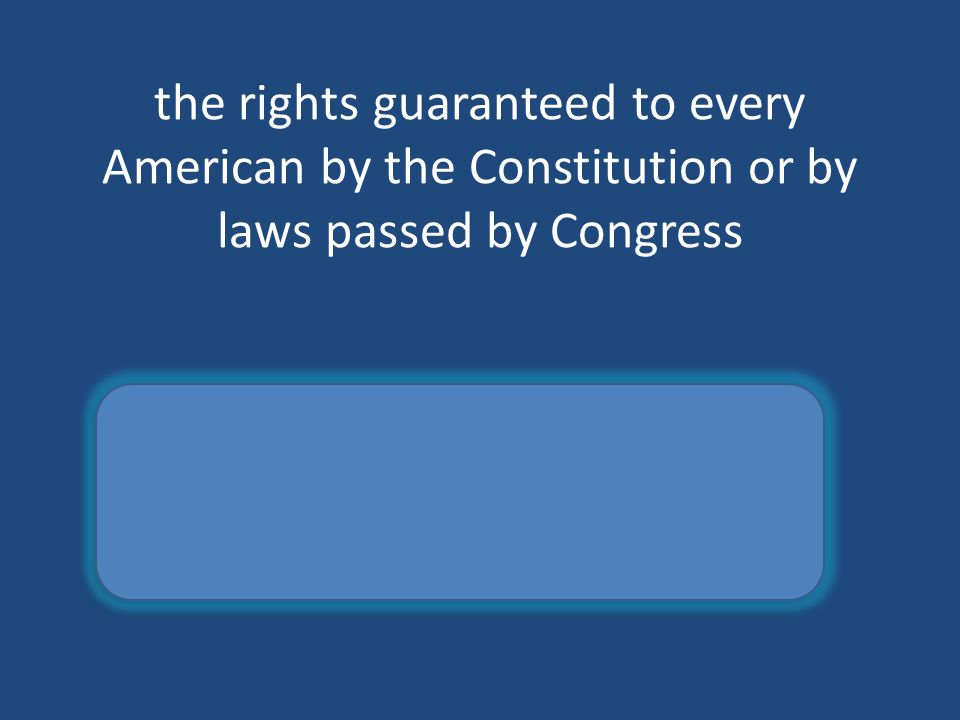 the rights guaranteed to every American by the Constitution or by laws passed by Congress Civil rights