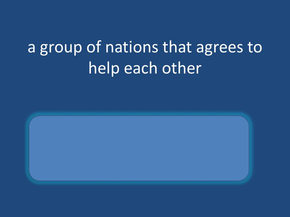 a group of nations that agrees to help each other alliance