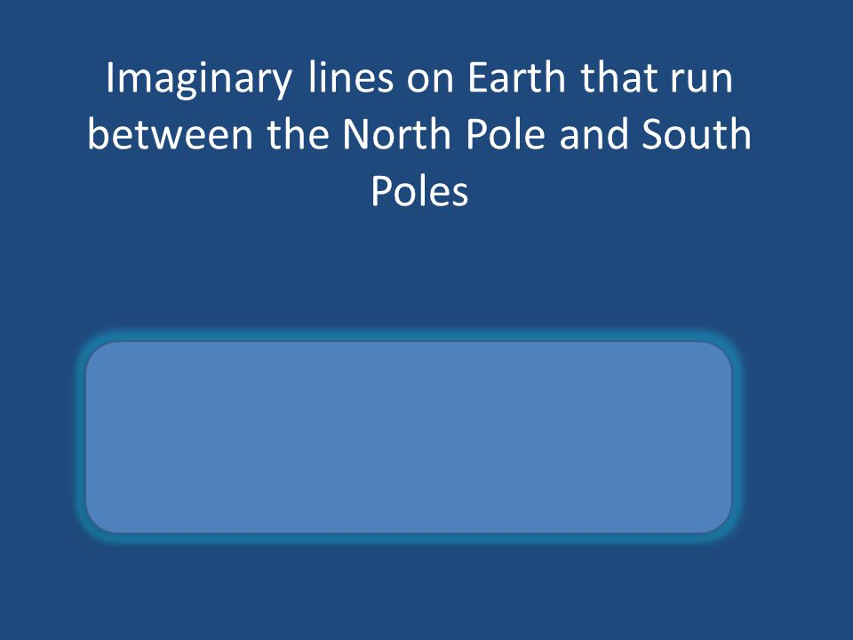 Imaginary lines on Earth that run between the North Pole and South Poles longitude