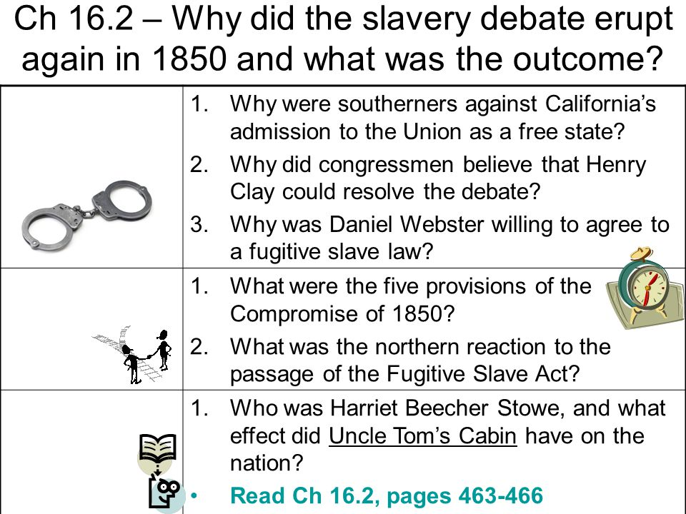 Ch 16.2 – Why did the slavery debate erupt again in 1850 and what was the outcome.