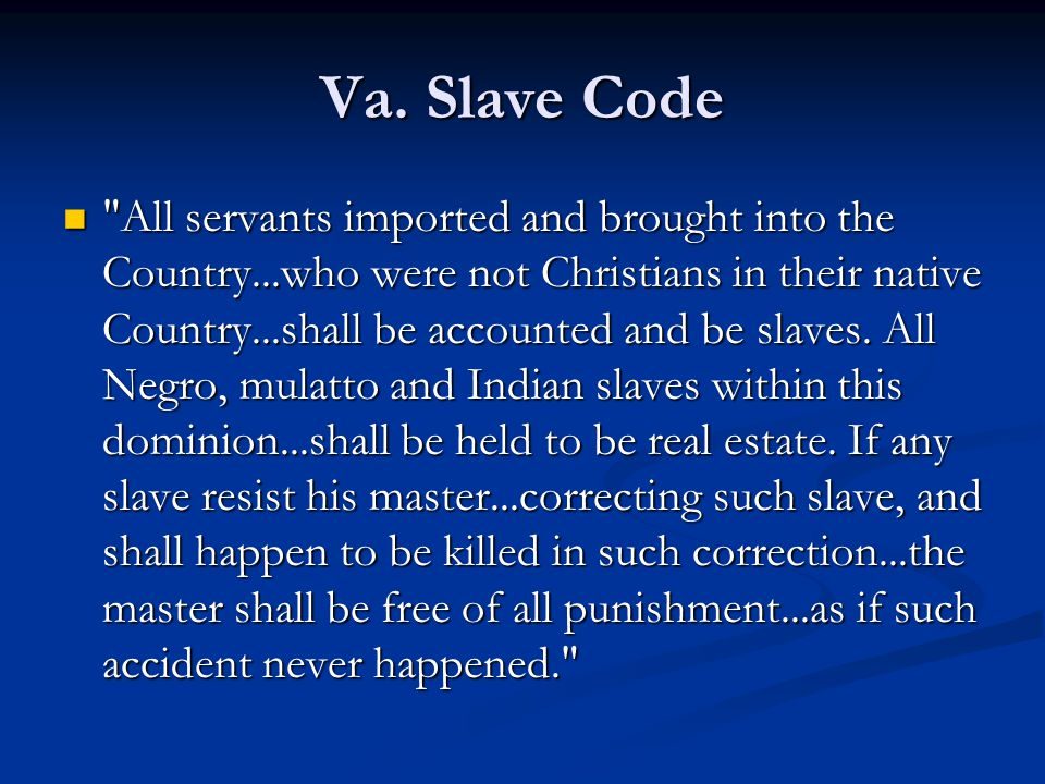 Va. Slave Code