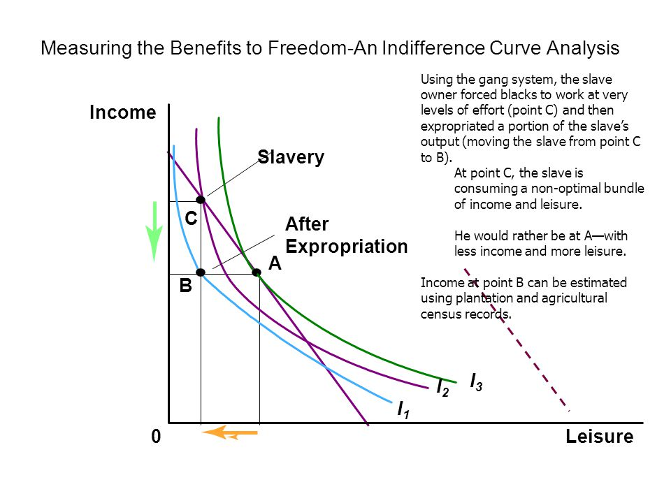 Measuring the Benefits to Freedom-An Indifference Curve Analysis (2) Leisure Income 0 B D After Expropriation I1I1 I2I2 Freedom After emancipation, the gang system was no longer viable.