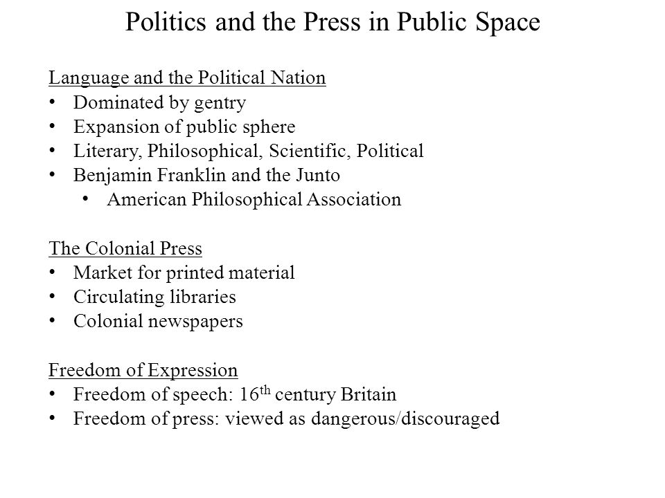 Politics and the Press in Public Space Language and the Political Nation Dominated by gentry Expansion of public sphere Literary, Philosophical, Scien
