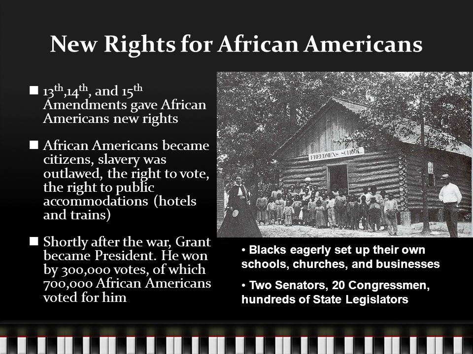 New Rights for African Americans 13 th,14 th, and 15 th Amendments gave African Americans new rights African Americans became citizens, slavery was outlawed, the right to vote, the right to public accommodations (hotels and trains) Shortly after the war, Grant became President.