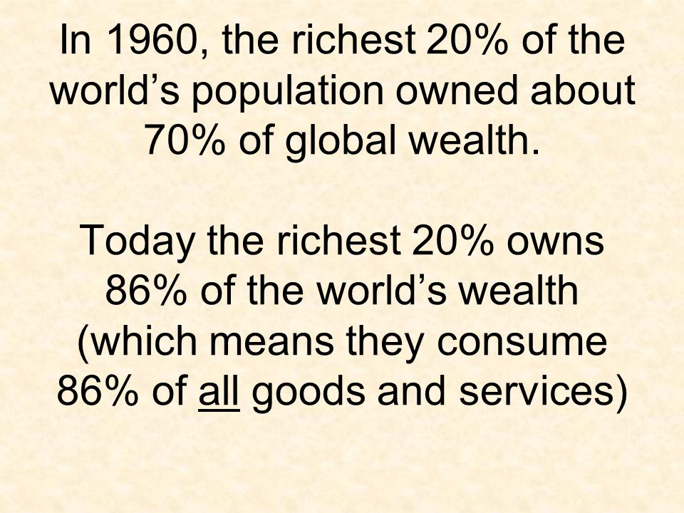 In 1960, the richest 20% of the world's population owned about 70% of global wealth.
