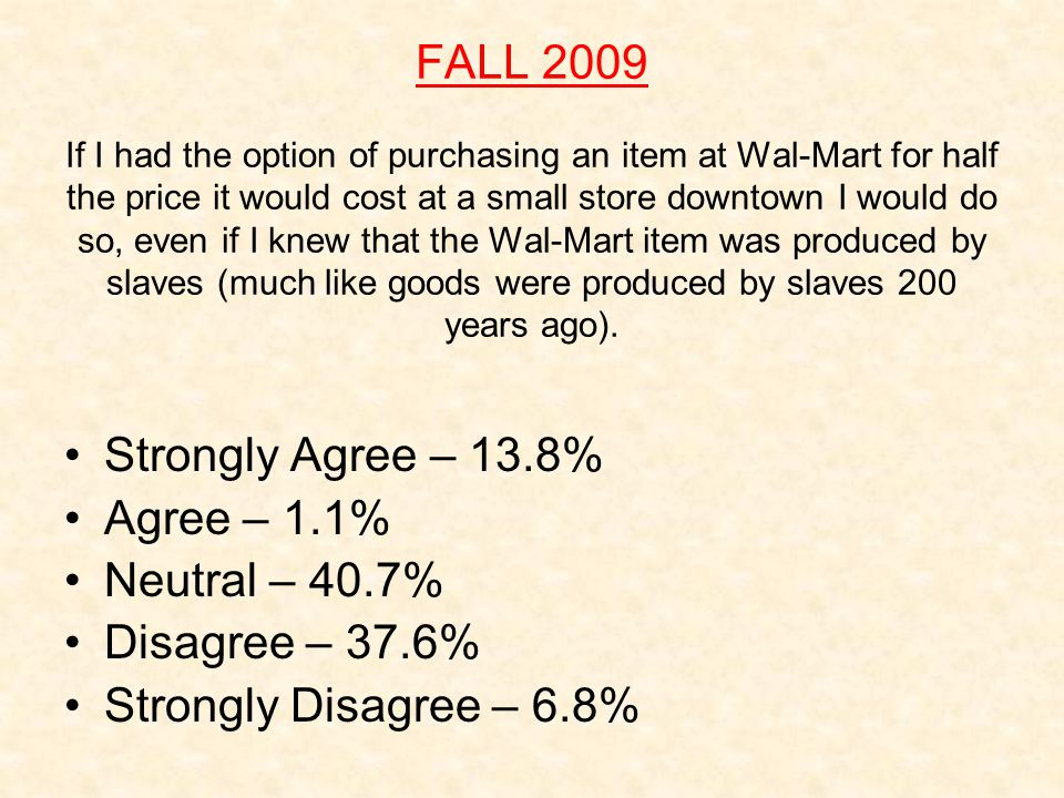 FALL 2009 If I had the option of purchasing an item at Wal-Mart for half the price it would cost at a small store downtown I would do so, even if I knew that the Wal-Mart item was produced by slaves (much like goods were produced by slaves 200 years ago).