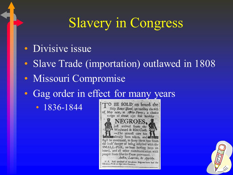 Slavery in Congress Divisive issue Slave Trade (importation) outlawed in 1808 Missouri Compromise Gag order in effect for many years 1836-1844