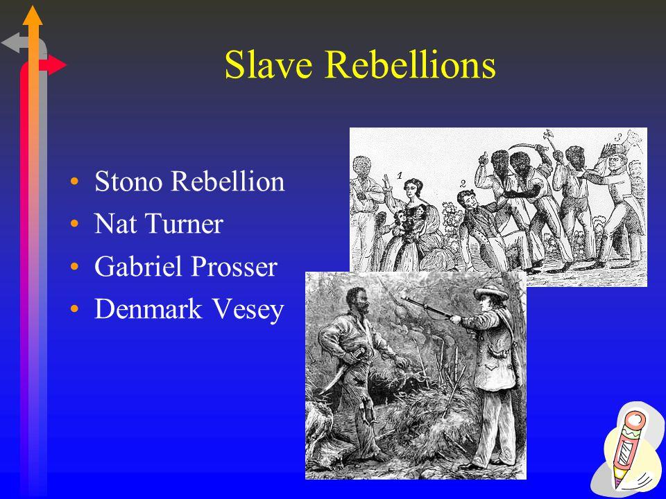 Slave Rebellions Stono Rebellion Nat Turner Gabriel Prosser Denmark Vesey