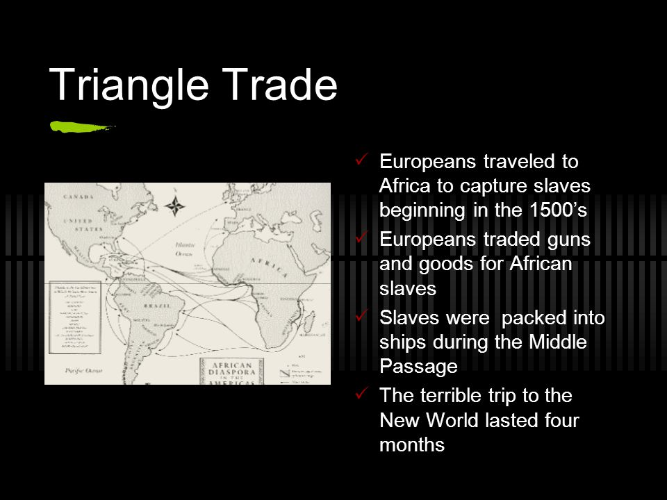 Triangle Trade Europeans traveled to Africa to capture slaves beginning in the 1500's Europeans traded guns and goods for African slaves Slaves were p