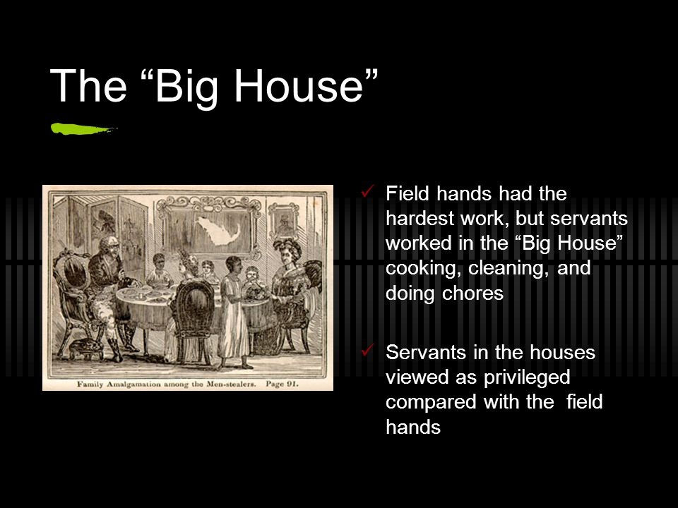 "The ""Big House"" Field hands had the hardest work, but servants worked in the ""Big House"" cooking, cleaning, and doing chores Servants in the houses vi"