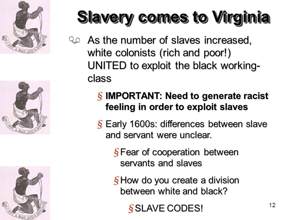 12 As the number of slaves increased, white colonists (rich and poor!) UNITED to exploit the black working- class § IMPORTANT: Need to generate racist feeling in order to exploit slaves § Early 1600s: differences between slave and servant were unclear.